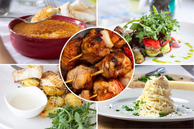 Food collage. With Creme Brulee, vegetables, fried meat and other European cuisine on a dining table royalty free stock images