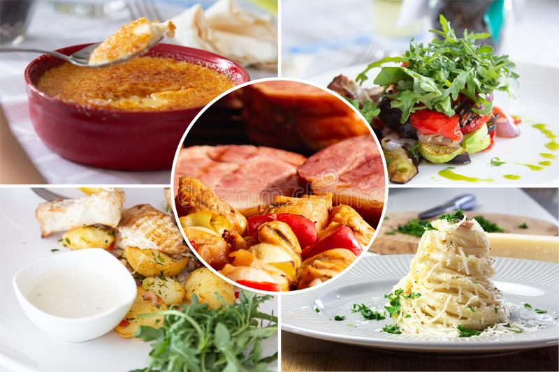 Food collage. With Creme Brulee, vegetables, fried meat and other European cuisine on a dining table stock image