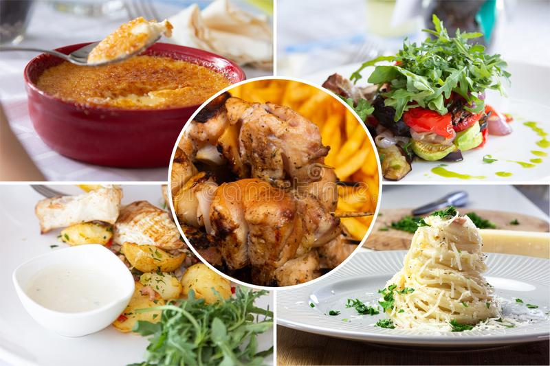 Food collage. With Creme Brulee, vegetables, fried meat and other European cuisine on a dining table stock photos