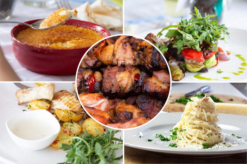 Food collage. With Creme Brulee, vegetables, fried meat and other European cuisine on a dining table royalty free stock photo
