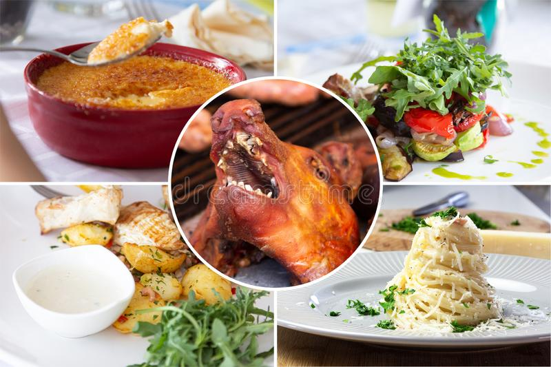 Food collage. With Creme Brulee, vegetables, fried meat and other European cuisine on a dining table royalty free stock image