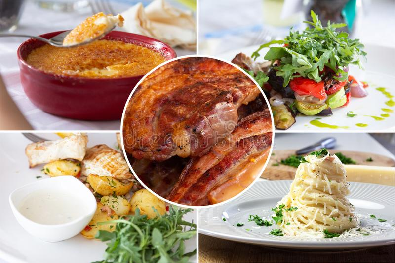 Food collage. With Creme Brulee, vegetables, fried meat and other European cuisine on a dining table royalty free stock photos