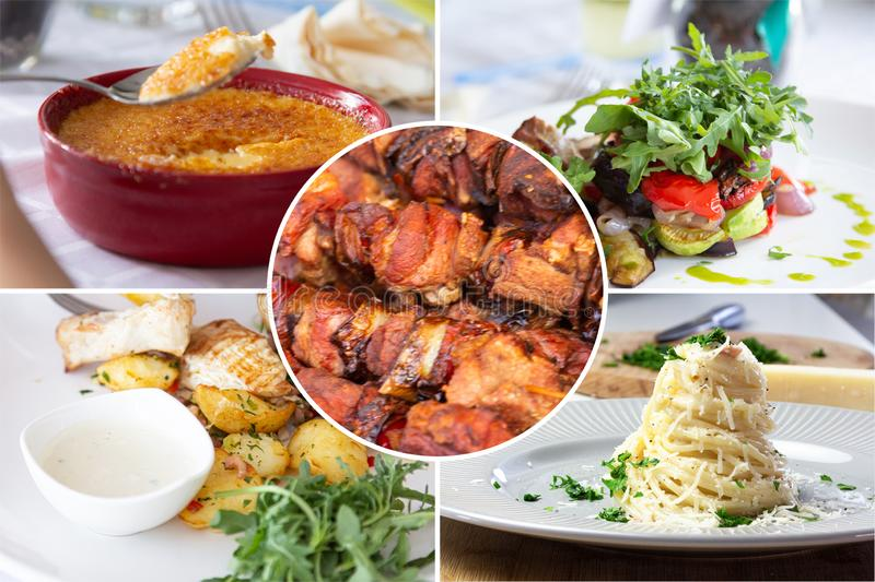Food collage. With Creme Brulee, vegetables, fried meat and other European cuisine on a dining table royalty free stock photography