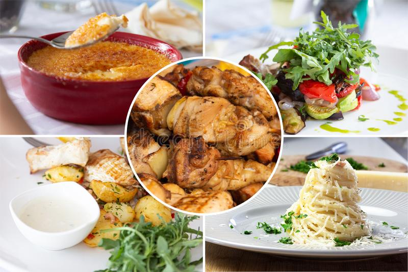 Food collage. With Creme Brulee, vegetables, fried meat and other European cuisine on a dining table stock photo
