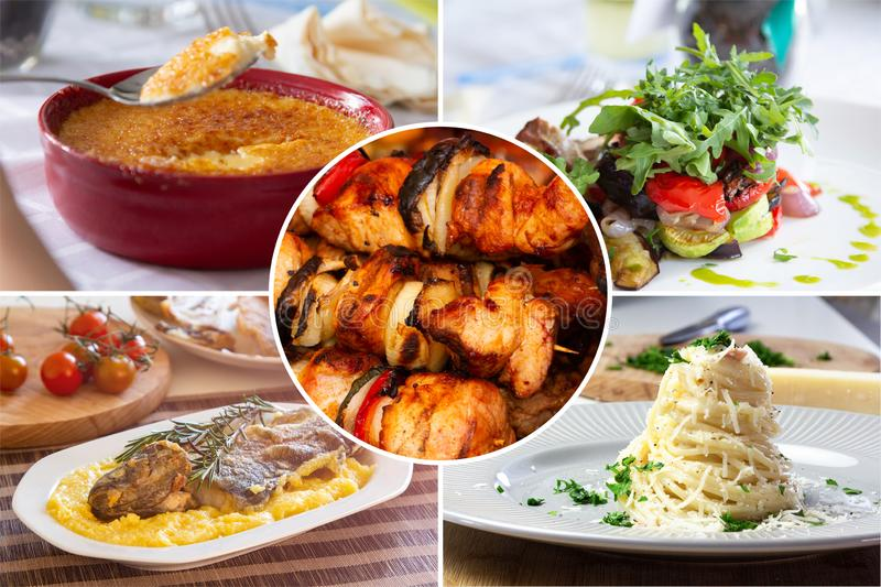 Food collage. With Creme Brulee, vegetables, fried pork, fish meat and other European cuisine on a dining table royalty free stock photography