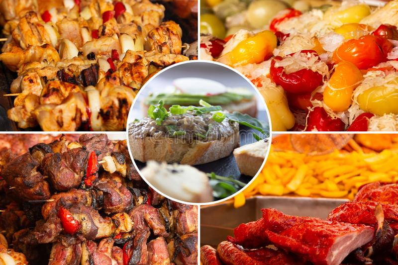 Food collage. Delicious cooked food collage with European cuisine closeup on a dining table stock photos