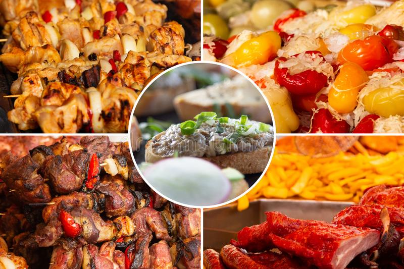 Food collage. Delicious cooked food collage with European cuisine closeup on a dining table royalty free stock photography