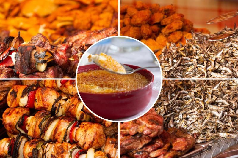 Food collage. Delicious pork cooked food collage with European cuisine closeup on a dining table stock photos