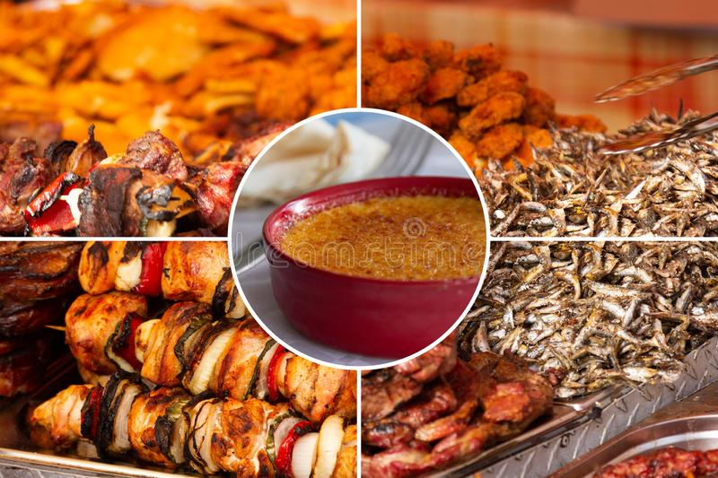 Food collage. Delicious pork cooked food collage with European cuisine closeup on a dining table stock images