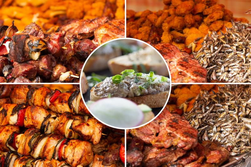 Food collage. Delicious pork cooked food collage with European cuisine closeup on a dining table stock photo