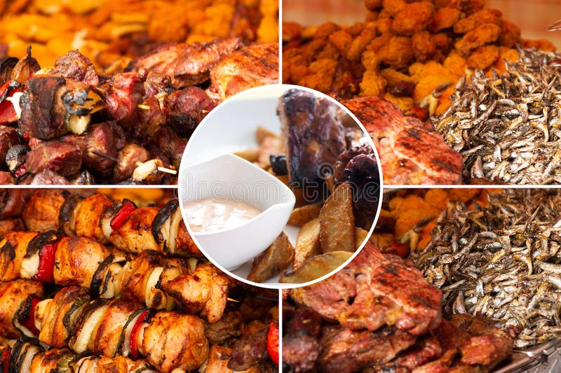 Food collage. Delicious pork cooked food collage with European cuisine closeup on a dining table royalty free stock images