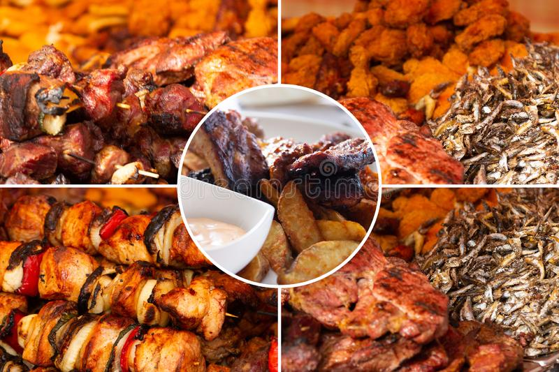 Food collage. Delicious pork cooked food collage with European cuisine closeup on a dining table royalty free stock image
