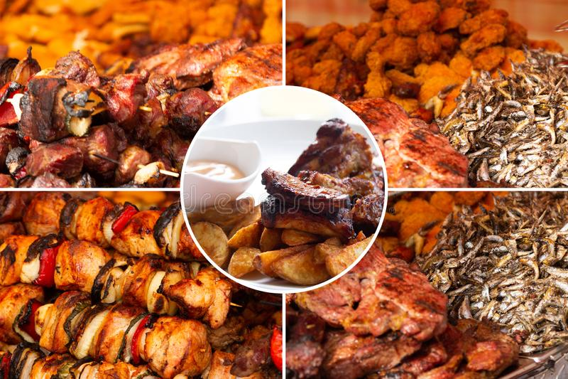 Food collage. Delicious pork cooked food collage with European cuisine closeup on a dining table royalty free stock photos