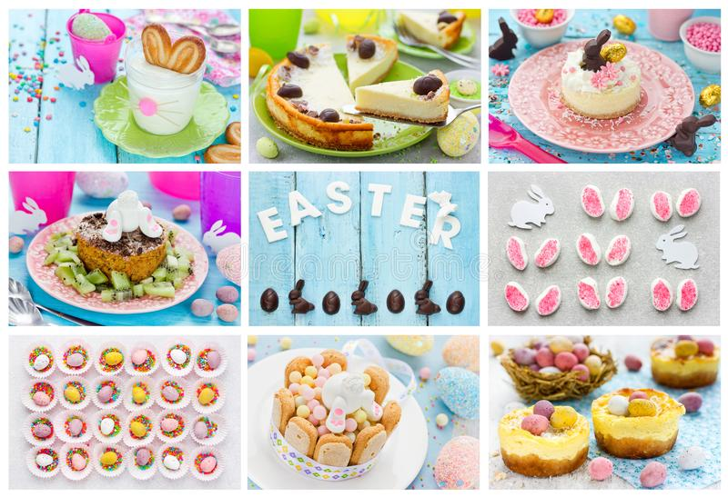 Food collage Easter dessert and candy. Food collage of Easter dessert and candy royalty free stock images