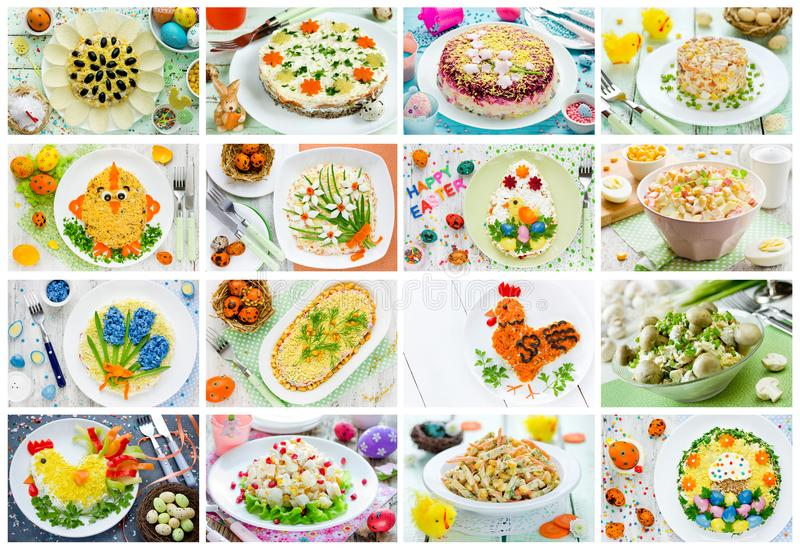 Food collage Easter salad, snack and appetizer. Food collage of Easter salad, snack and appetizer stock images