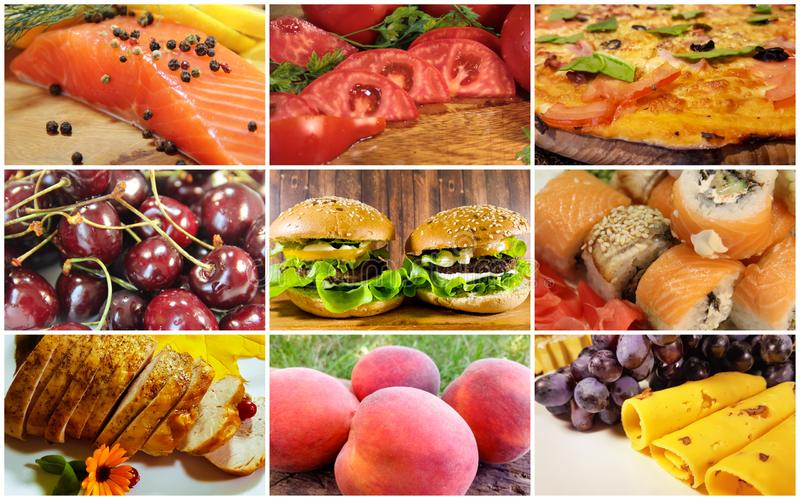 Food collage, fish, vegetables, fruit, royalty free stock photos