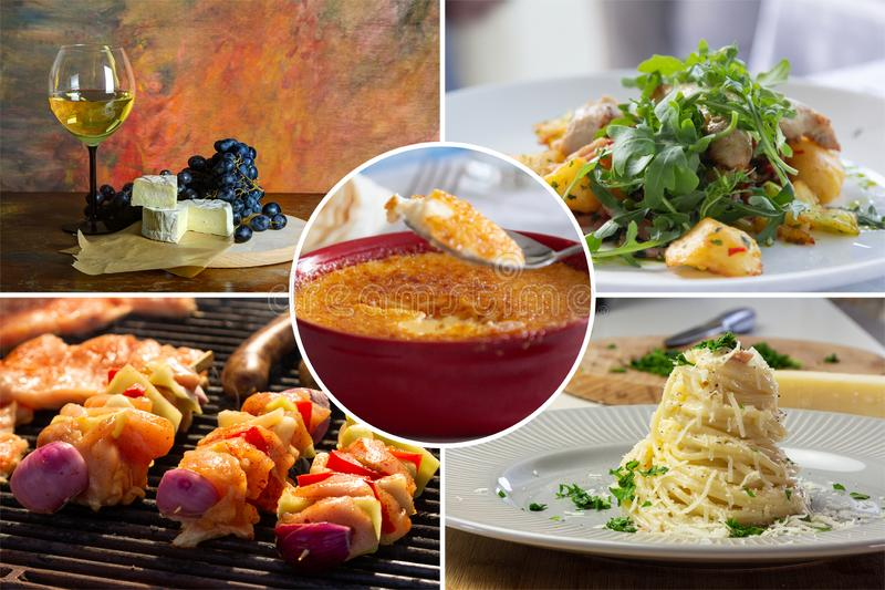 Food collage. With fried and grilled meat, cheese, wine, spaghetti, vegetables, desserts and other European cuisine royalty free stock photo