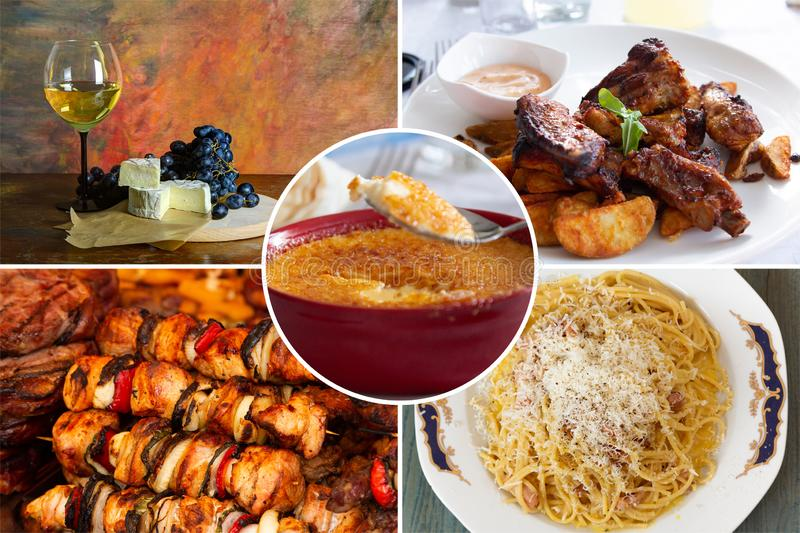 Food collage. With fried and grilled meat, cheese, wine, spaghetti, vegetables, desserts and other European cuisine royalty free stock photography