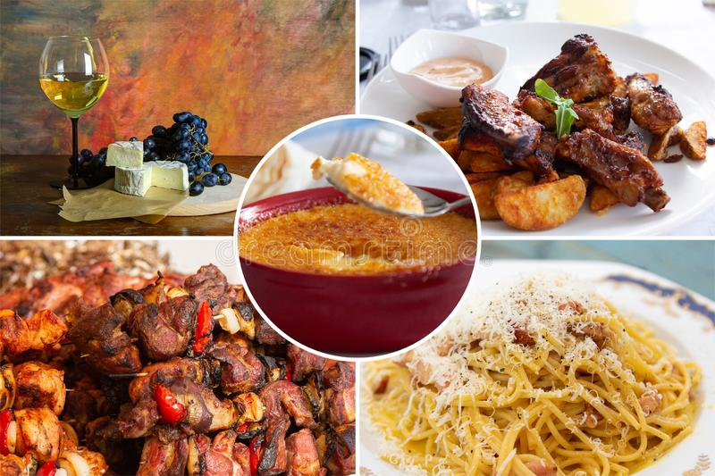 Food collage. With fried and grilled meat, cheese, wine, spaghetti, vegetables, desserts and other European cuisine stock photo