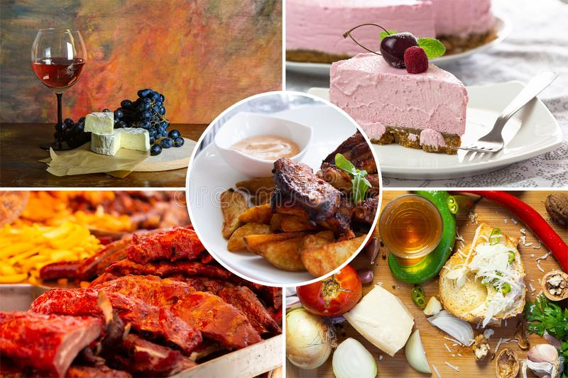 Food collage. With fried and grilled meat, cheese, wine, spaghetti, vegetables, desserts and other European cuisine stock images