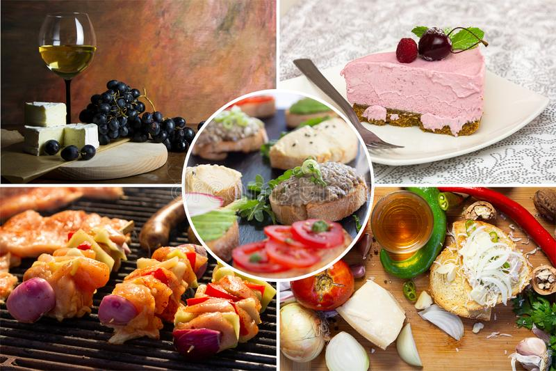 Food collage. With fried and grilled meat, cheese, wine, spaghetti, vegetables, desserts and other European cuisine stock photography