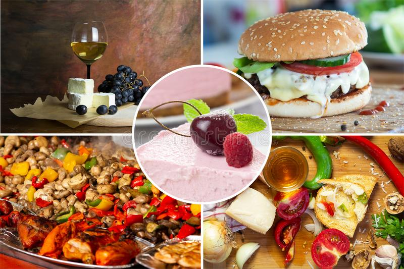 Food collage. With fried and grilled meat, cheese, wine, spaghetti, vegetables, desserts and other European cuisine royalty free stock images