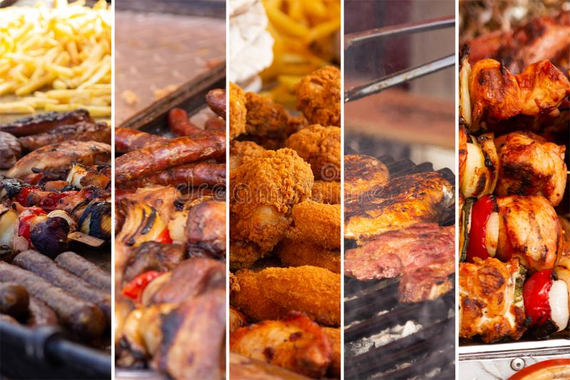 Food collage. With fried meat and vegetables along other European cuisine stock images
