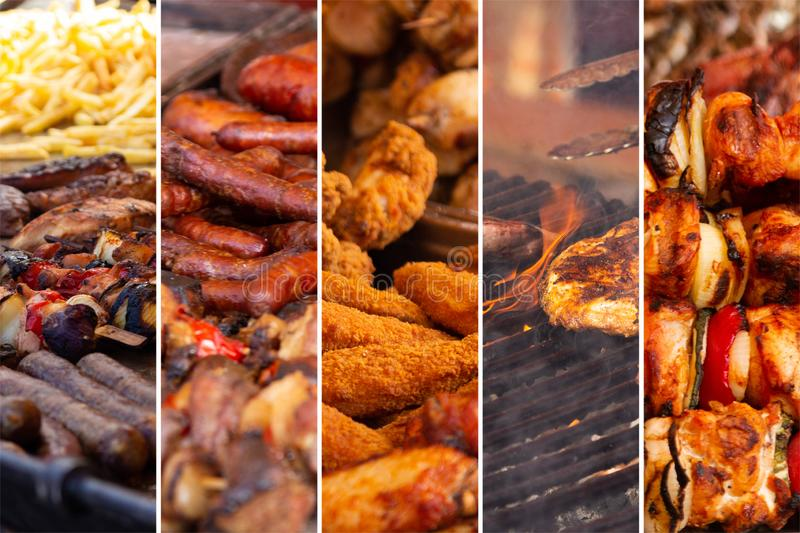 Food collage. With fried meat and vegetables along other European cuisine stock photography