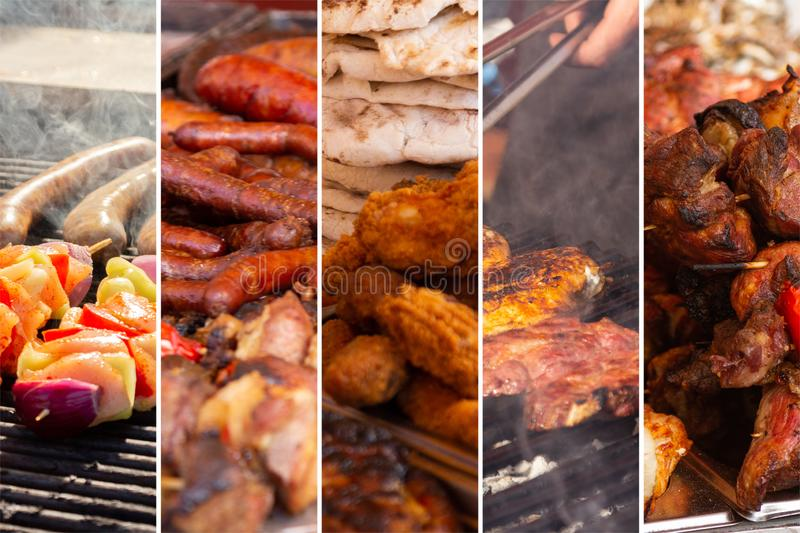 Food collage. With fried meat and vegetables along other European cuisine royalty free stock photography