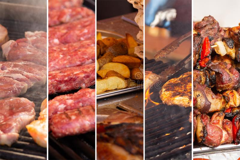 Food collage. With fried meat and vegetables along other European cuisine royalty free stock images