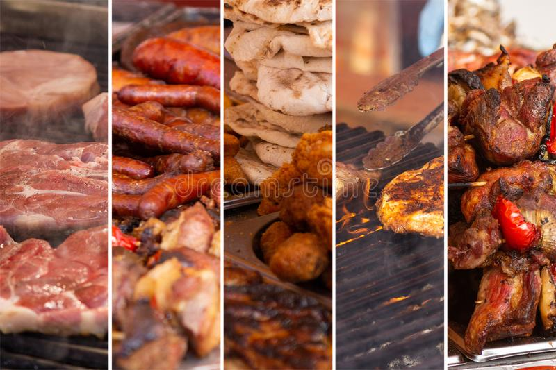 Food collage. With fried meat and vegetables along other European cuisine stock image