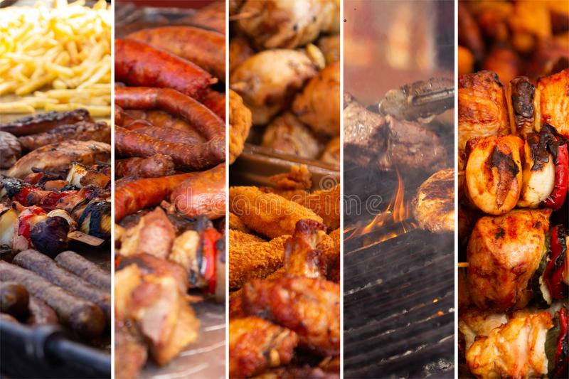 Food collage. With fried meat and vegetables along other European cuisine royalty free stock photo