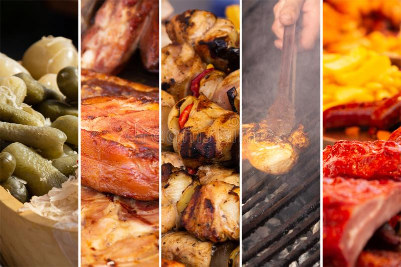 Food collage. Food cooking collage with fried meat and vegetables on grill stock photos