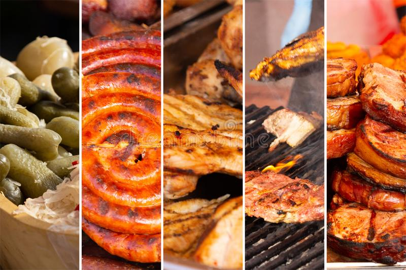 Food collage. Food cooking collage with fried meat and vegetables on grill stock image