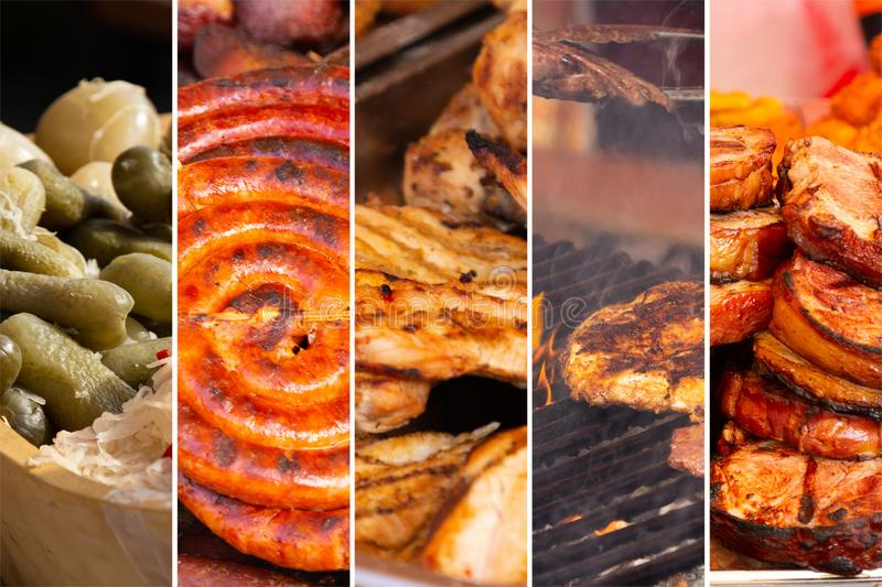 Food collage. Food cooking collage with fried meat and vegetables on grill stock photography