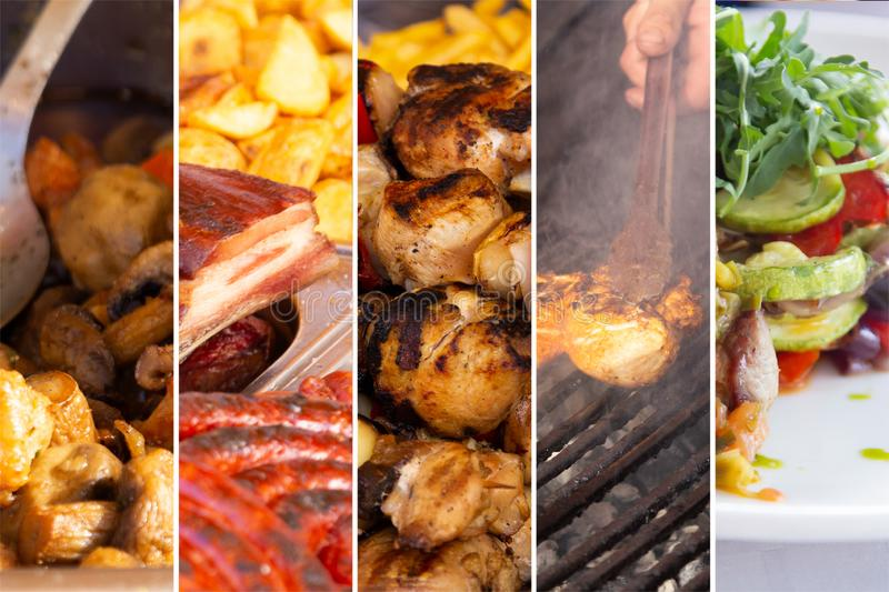 Food collage. Food cooking collage with fried meat and vegetables on grill royalty free stock photo