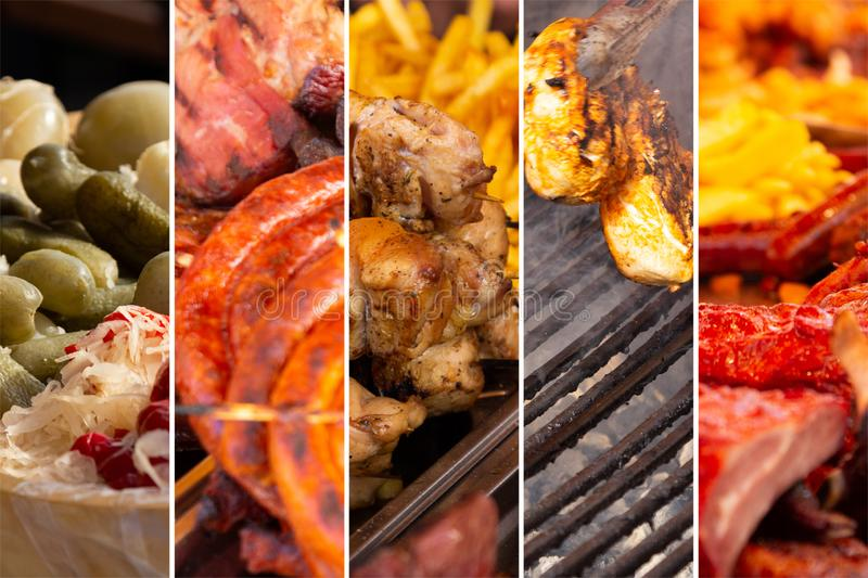 Food collage. Food cooking collage with fried meat and vegetables on grill royalty free stock photos