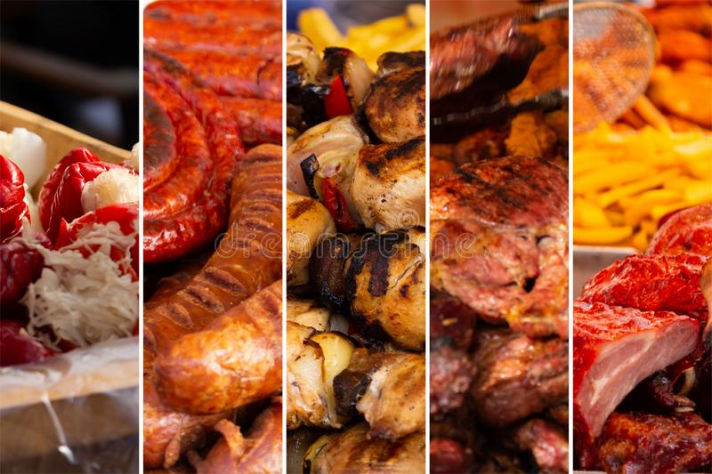 Food collage. Food cooking collage with fried meat and vegetables on grill royalty free stock images