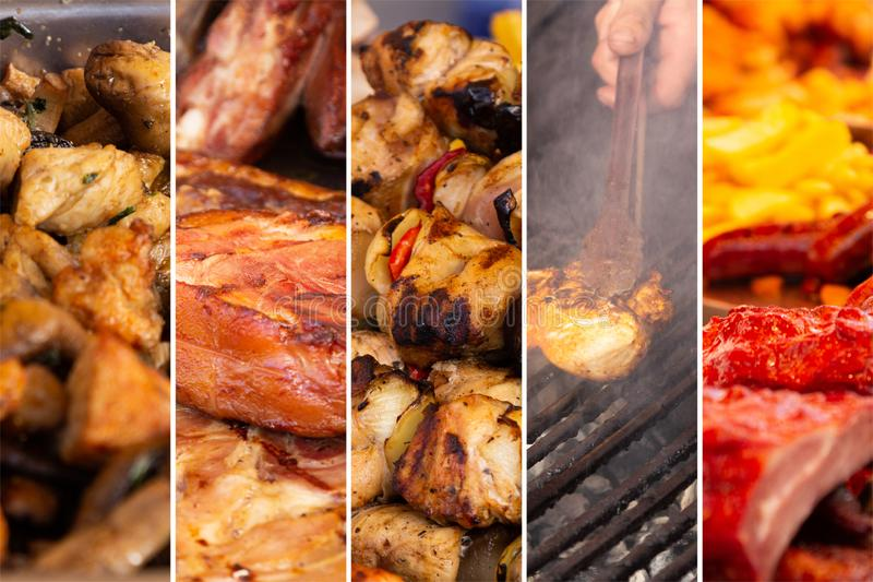 Food collage. Food cooking collage with fried meat and vegetables on grill stock photo