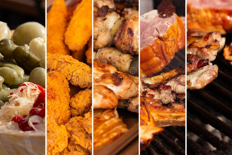 Food collage. Food cooking collage with fried meat and vegetables on grill stock images