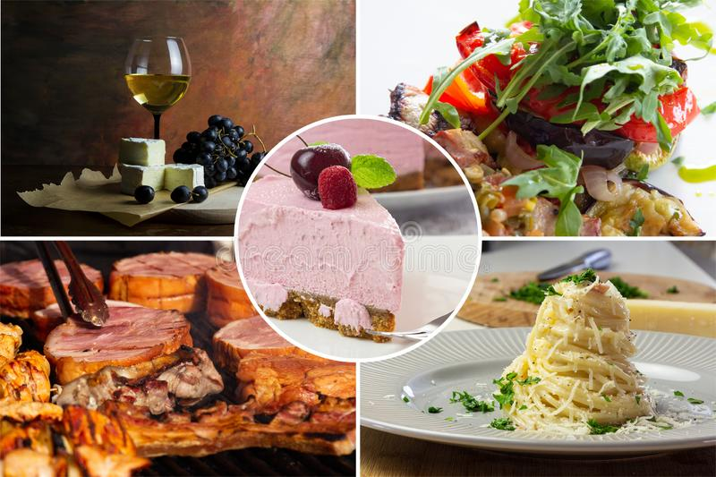 Food collage. With fried and grilled meat, cheese, wine, spaghetti, vegetables, desserts and other European cuisine royalty free stock photos