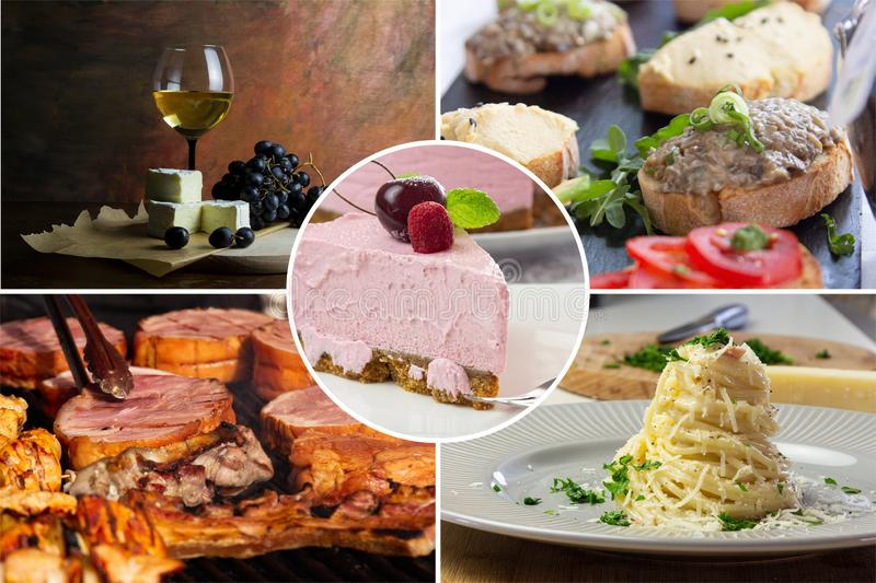 Food collage. With fried and grilled meat, cheese, wine, spaghetti, vegetables, desserts and other European cuisine stock image