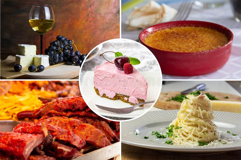 Food collage. With fried and grilled meat, cheese, wine, spaghetti, vegetables, desserts and other European cuisine stock photos