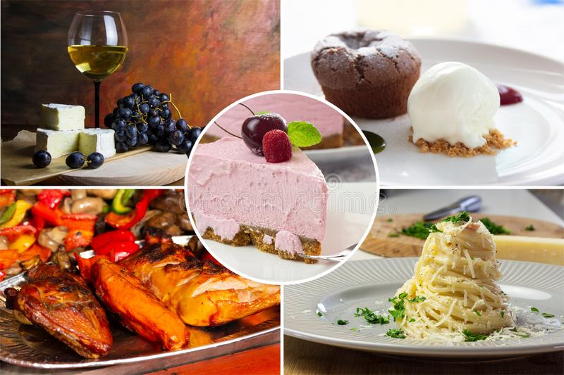 Food collage. With fried and grilled meat, cheese, wine, spaghetti, vegetables, desserts and other European cuisine royalty free stock image
