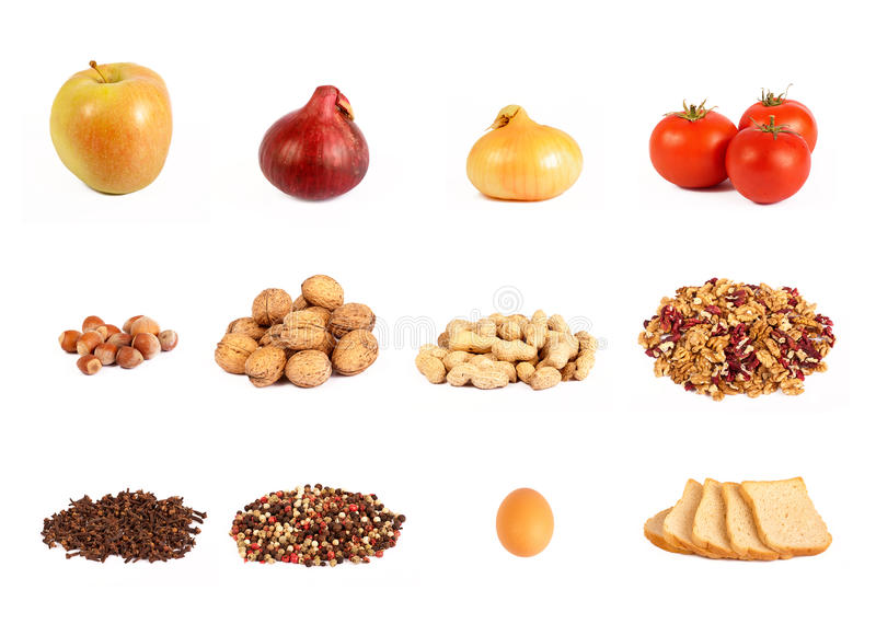 Food collage, isolated on shite stock image