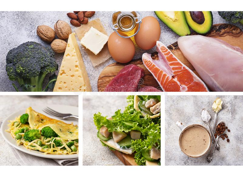 Food collage. Ketogenic products and dishes stock image