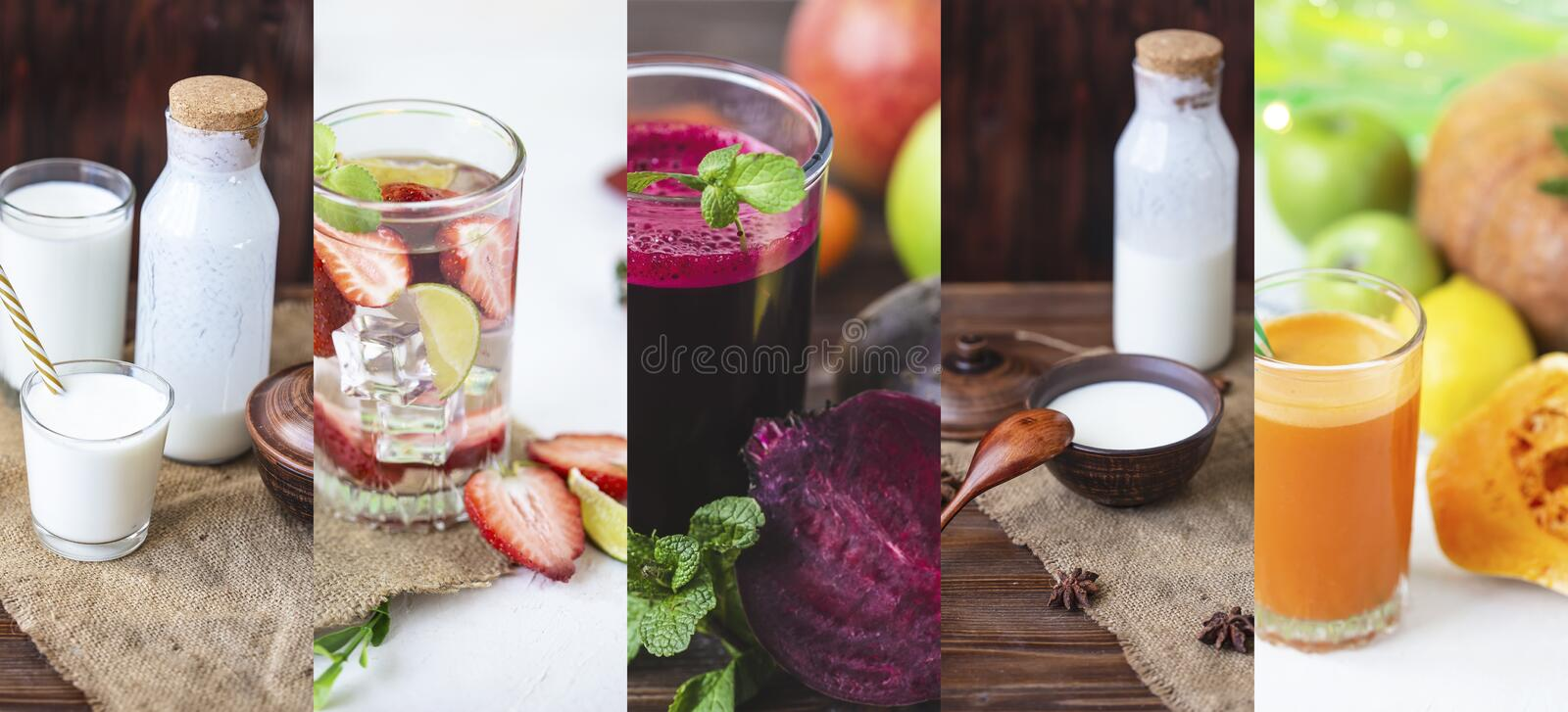 Food collage from photo of healthy drinks. Kefir, yogurt,smoothie, lemonade, freshly squeezed juices. On a light background stock photo