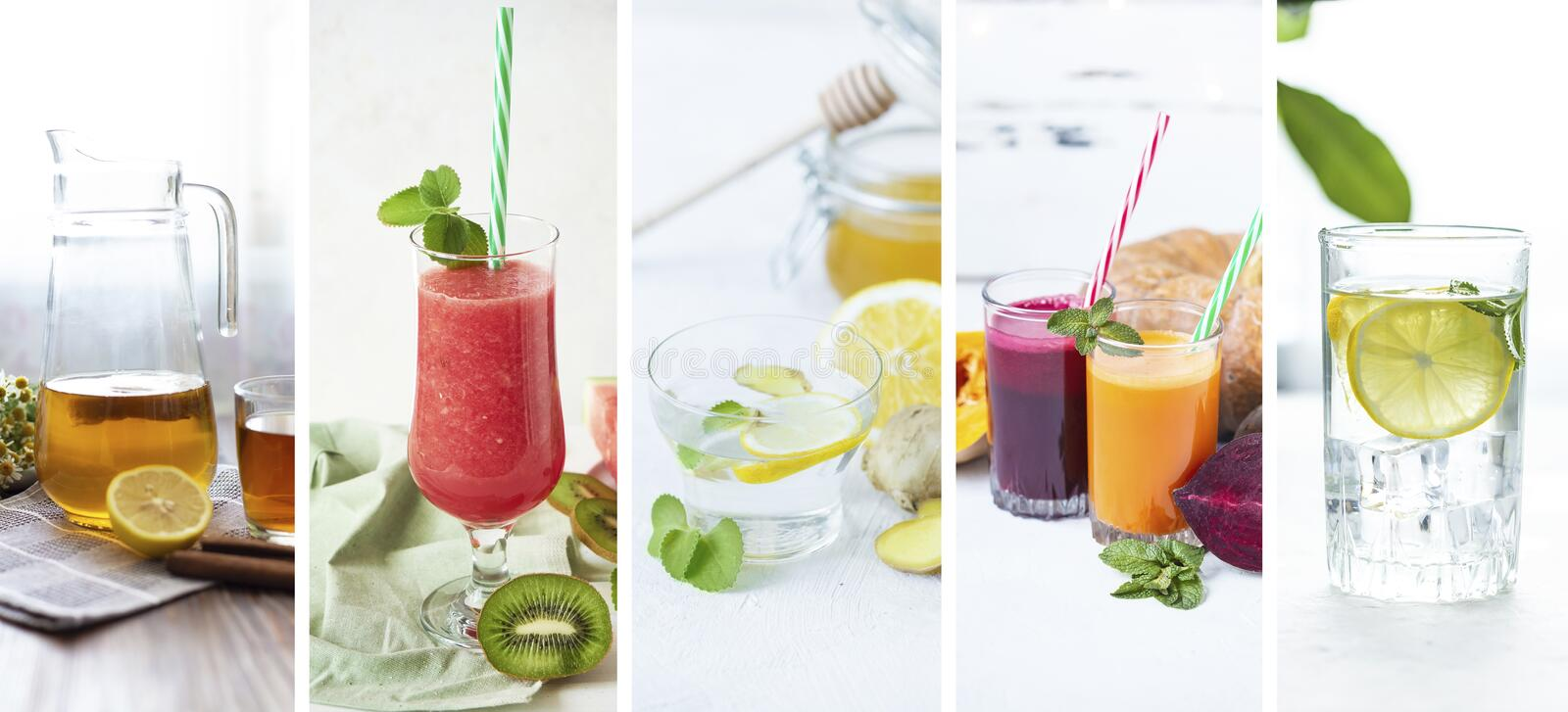 Food collage from photo of healthy drinks. Kombucha, ginger drink, smoothie, lemonade, freshly juices. Food collage from photo of healthy drinks. Kombucha royalty free stock photos