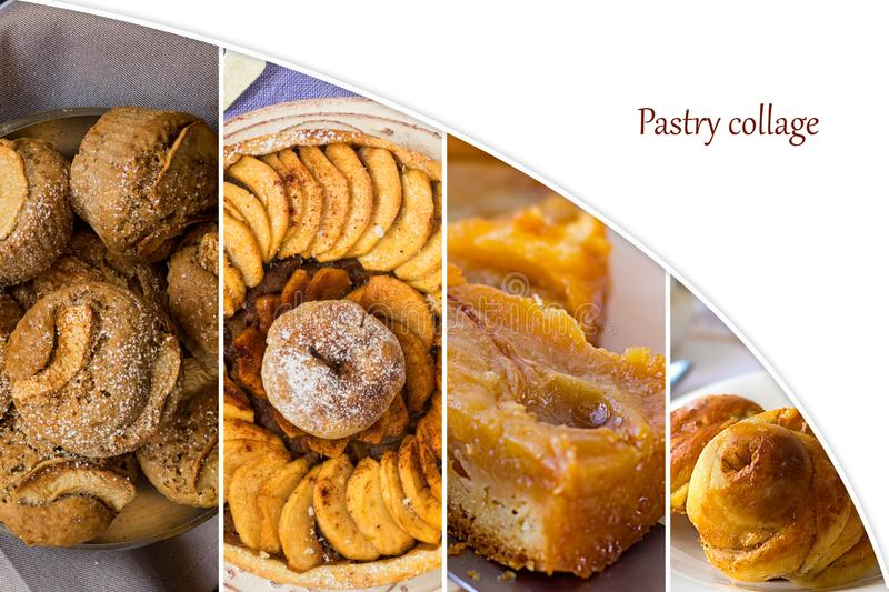 Food collage from photos of home made pastry: muffins, apple tart, upside down pear pie and roll with cinnamon stock photo