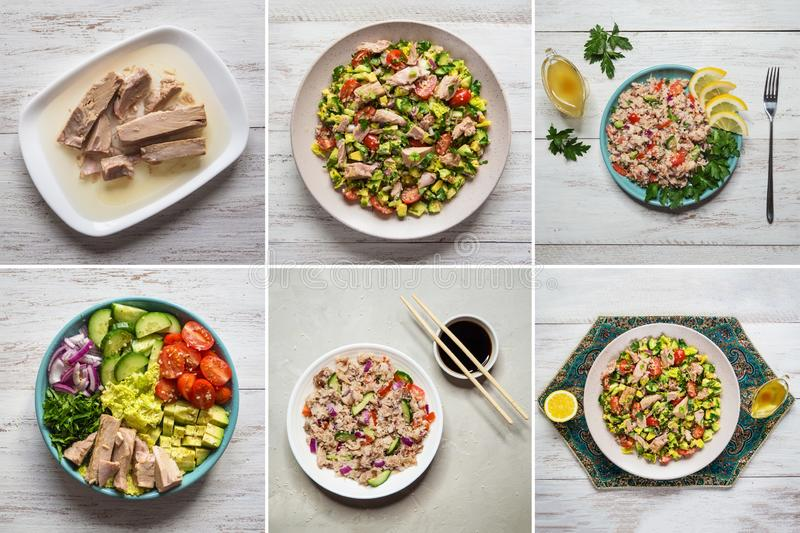 Food collage of salads with canned tuna royalty free stock photography